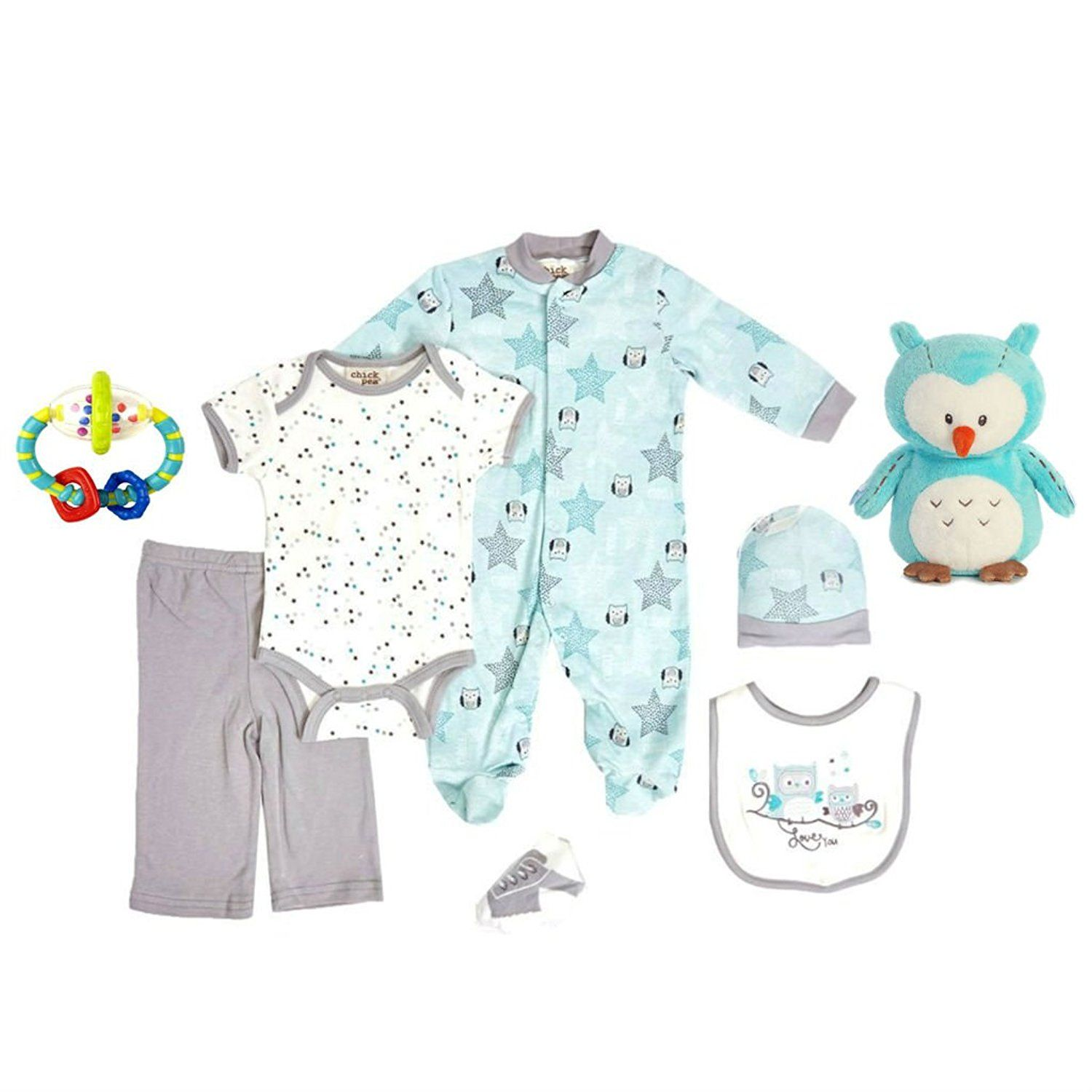 Amazon Owl Layette Infant Set with Lil Hoot Owl and Baby Rattle