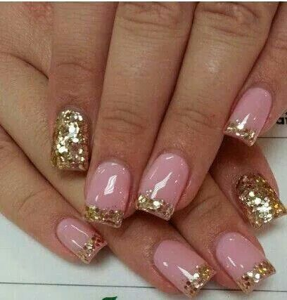 Pink and gold nails idea - Pink & Gold Nail Design Pinterest Gold, Manicure And Nail Nail