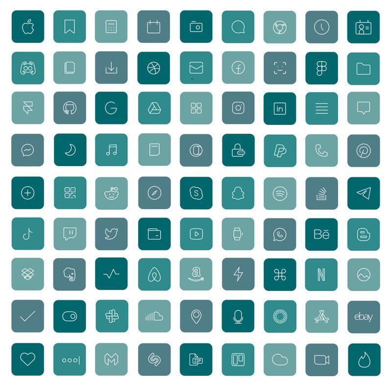 83 Aquamarine iOS 14 App Icons Blue Bright Mood Wi