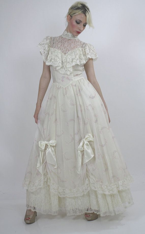 Gunne Sax dress Vintage Prairie puff sleeve Boho bridal Hippie ...