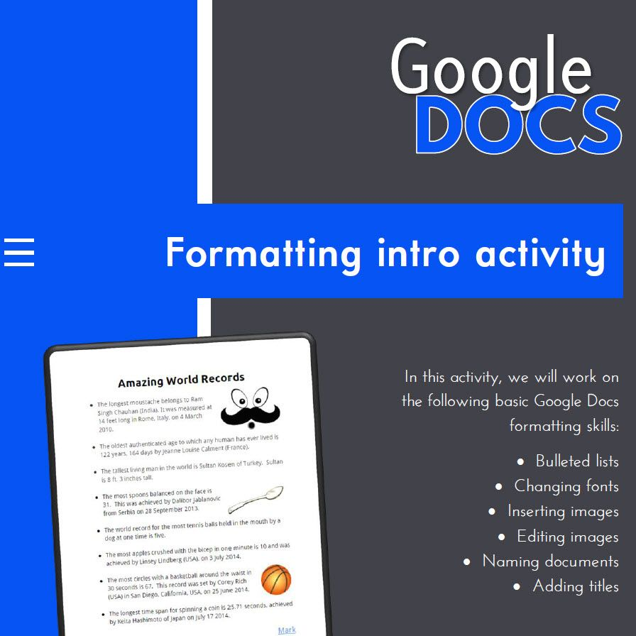 google docs - intro to formatting activity | bulleted list, google, Presentation templates