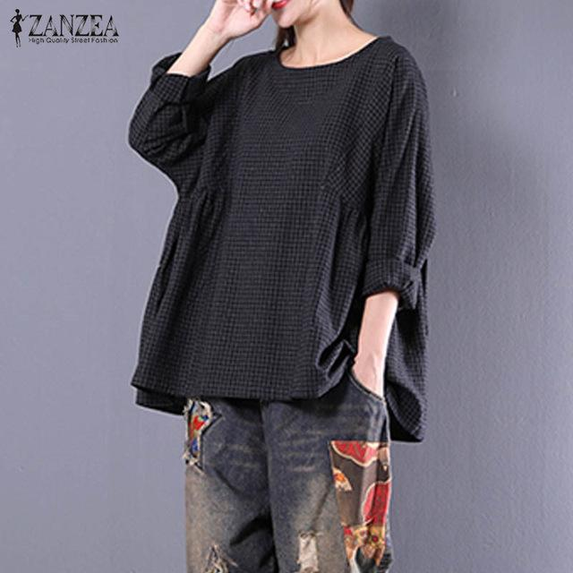 12ec77e76d773 Blouse Woman Vintage O Neck Check Plaid Long Sleeve Shirt Casual Cotton  Linen Pleated Blouse Pullover