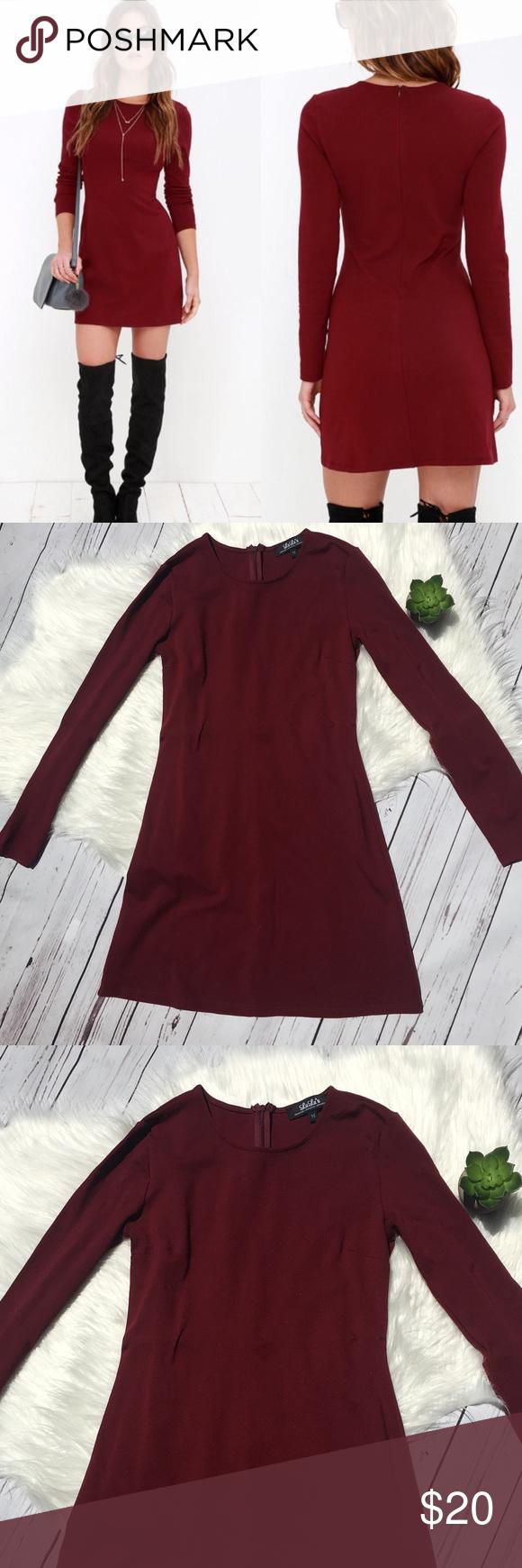 Luluus perfectly posh long sleeve dress wine red my posh closet