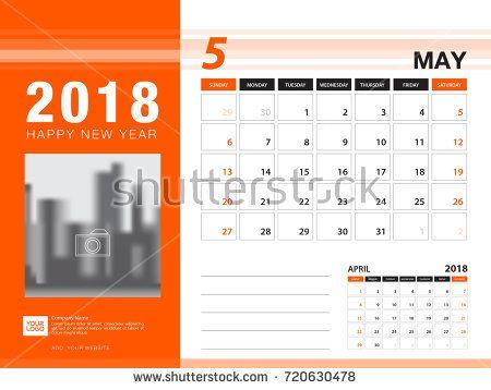 Desk Calendar 2018 Template May 2018 Month Planner Week Starts