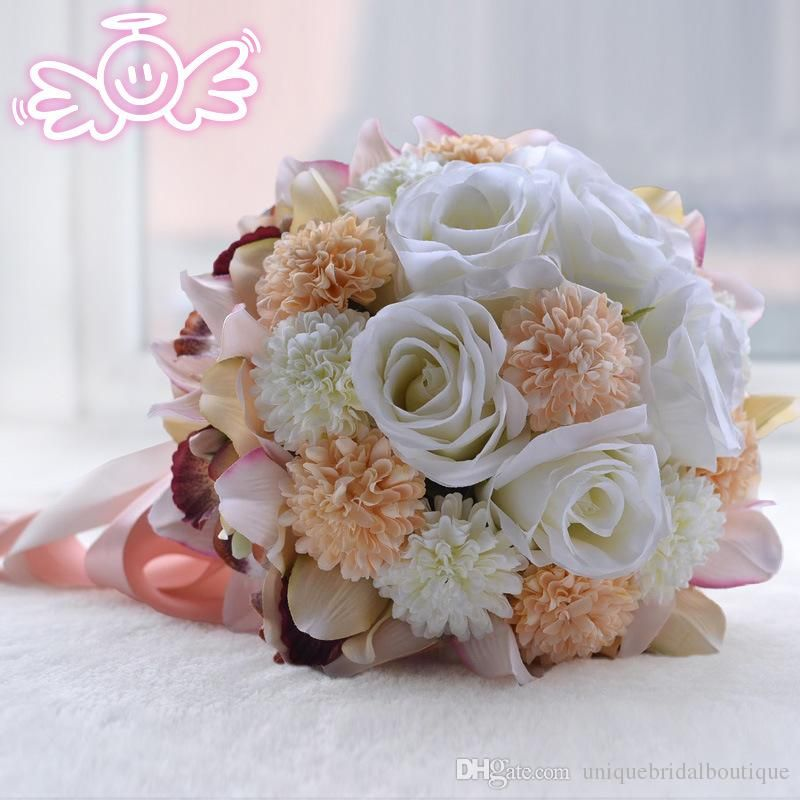 Cheap Artificial Wedding Bouquets 2017 New Romantic European Style Rose Sunflower Cymbidium Bridal Flowers