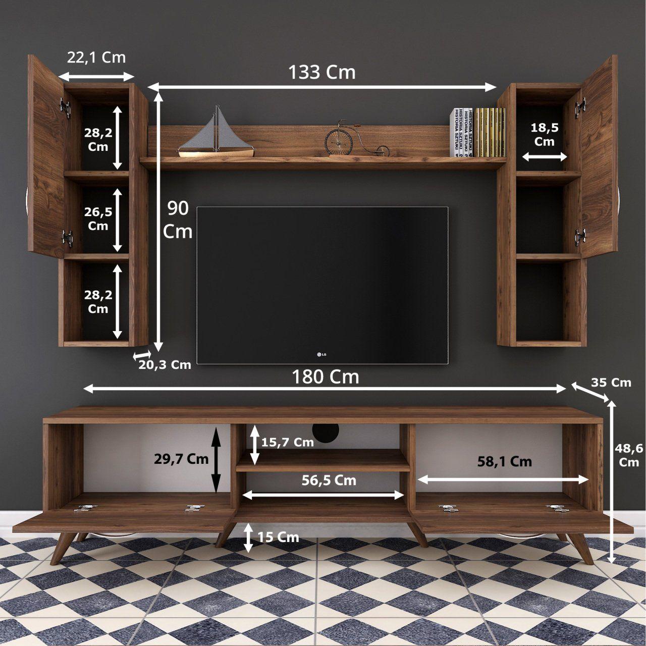 Rani A9 Duvar Raflı Kitaplıklı Tv ünitesi Duvara Monte Dolaplı Modern Ayaklı Tv Sehpas Wall Tv Unit Design Living Room Tv Unit Designs Tv Unit Furniture Design