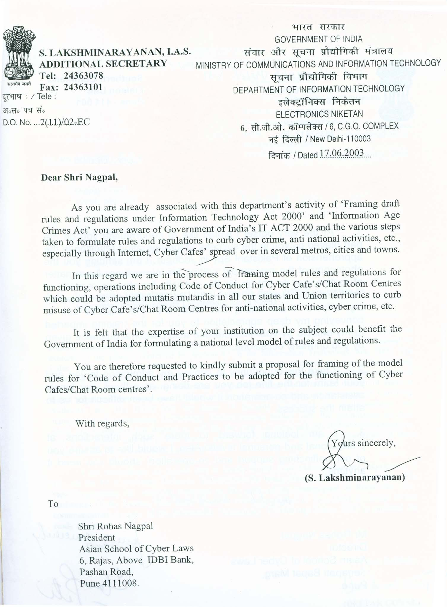 Letter from Additional Secretary, Ministry of