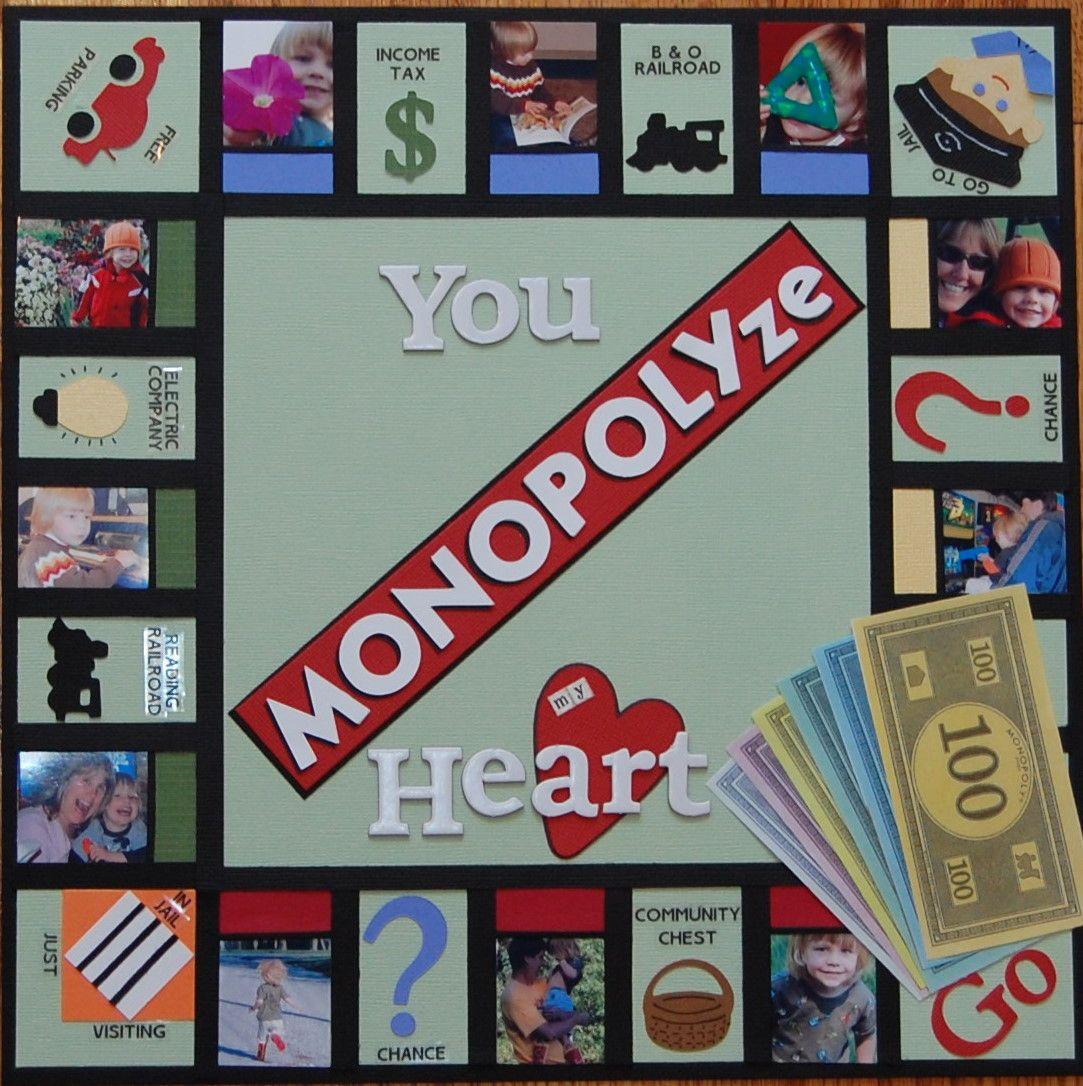 Scrapbook ideas rainbow - Creative You Monopolyze My Heart Scrapbooking Layout Cindy Childress Scrapbook