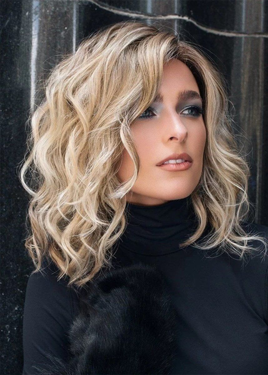 women's middle length side part tamed open waves human