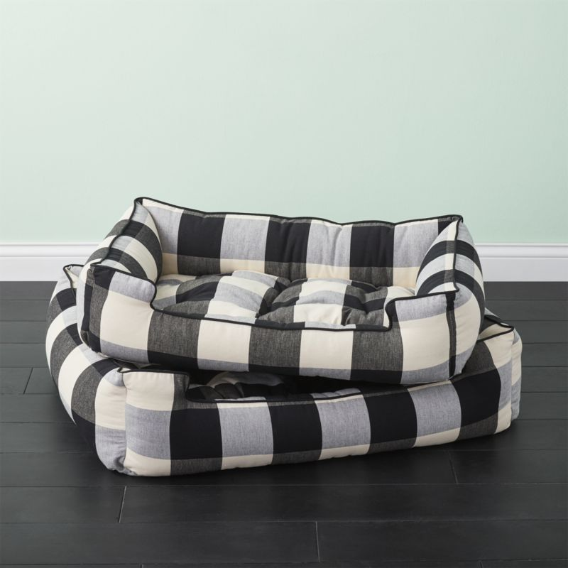 Shop Black And White Plaid Dog Bed Lounges Like A Sofa And Sleeps Like A Dream Handcrafted In California By Jax Bones White Dog Bed Dog Bed Dog Lounge Bed