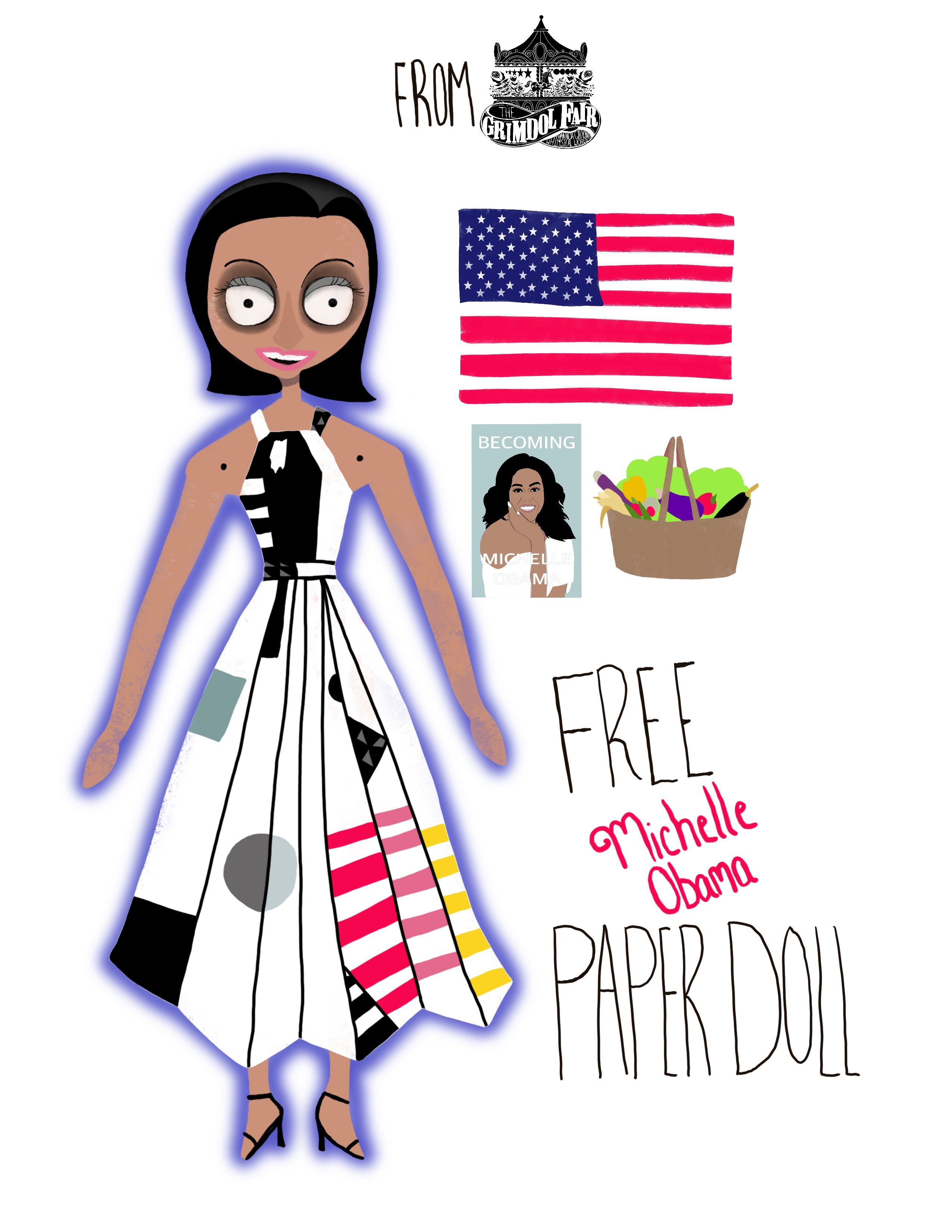 Free Michelle Obama Printable Paper Doll