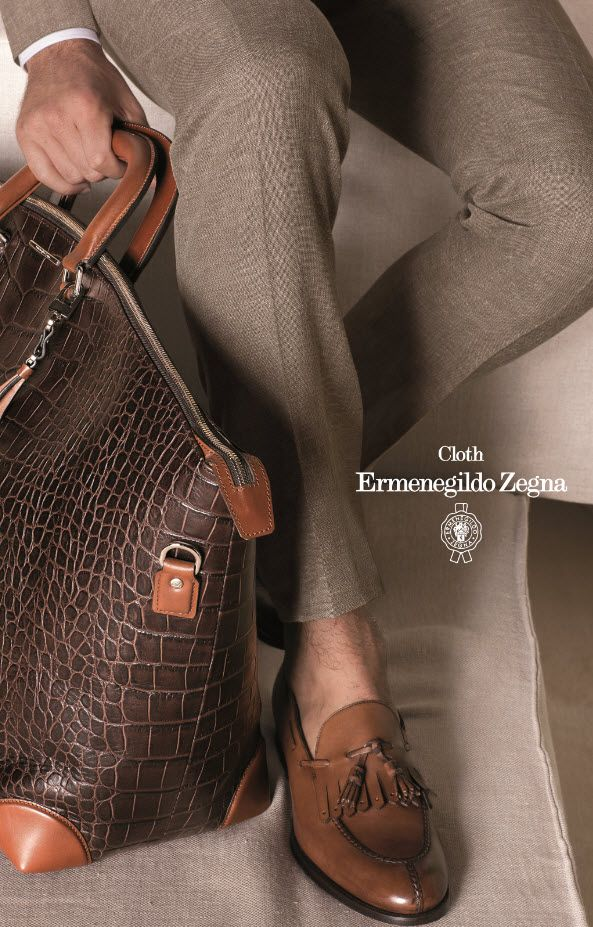 Ermenegildo Zegna - the bag and shoes are very high quality...wear with pebble or grey...beautiful!