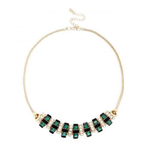 Deco Cluster Stone Necklace  - Emerald