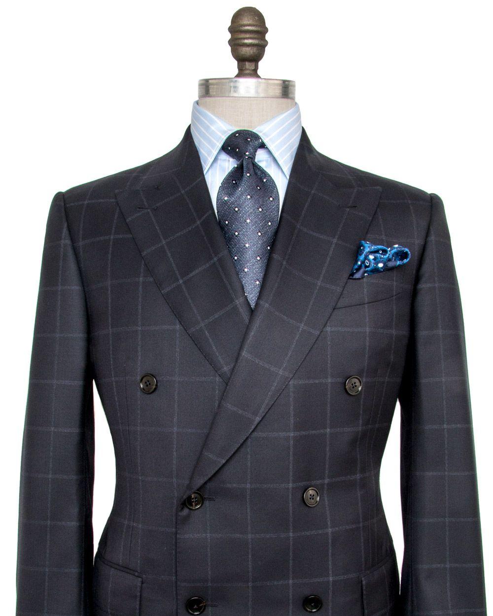 30ad4b9f73b4 Ermenegildo Zegna Navy Windowpane Suit Double breasted jacket Peak lapel  Pick…