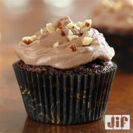 Brownie Cupcakes with Hazelnut Buttercream from Jif® If you like chocolate, this is for you.