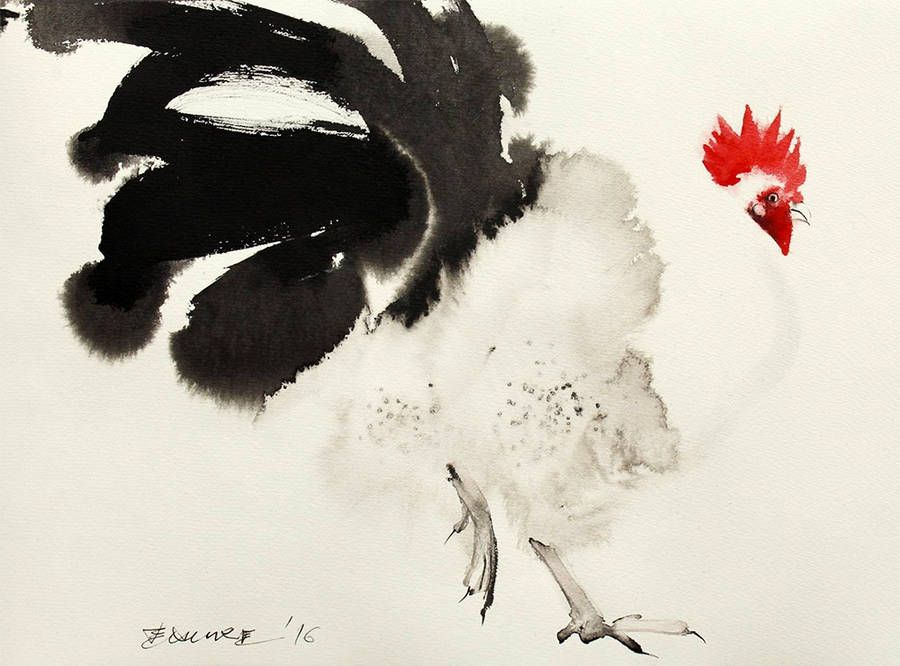 Endre Penovác creates ink paintings of animals. On of his favorite subject, after cats, are chickens. He represents it their color of feather and their red mohican. With his technique, he manages to paint the texture of the plumage with beauty.