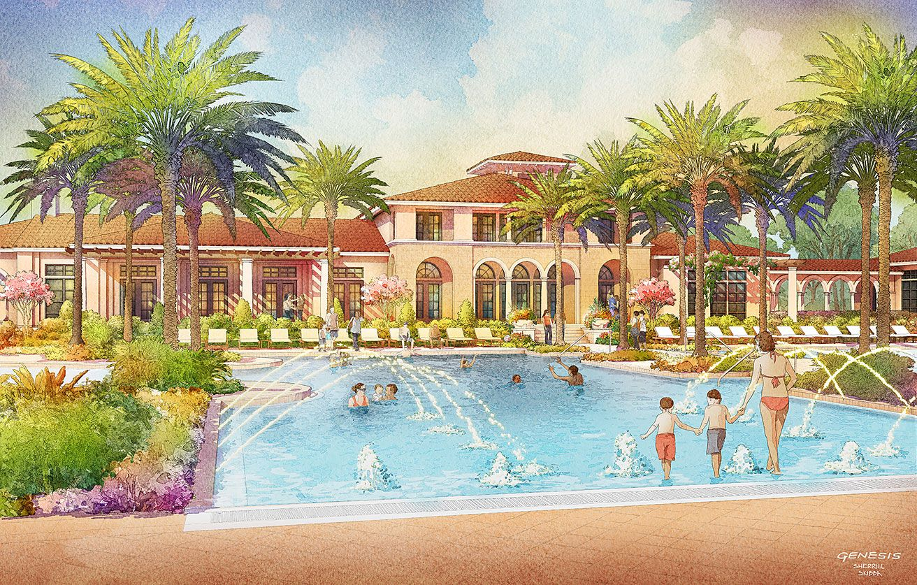 Digital Watercolor Architectural Rendering Of Tamaya Pool For