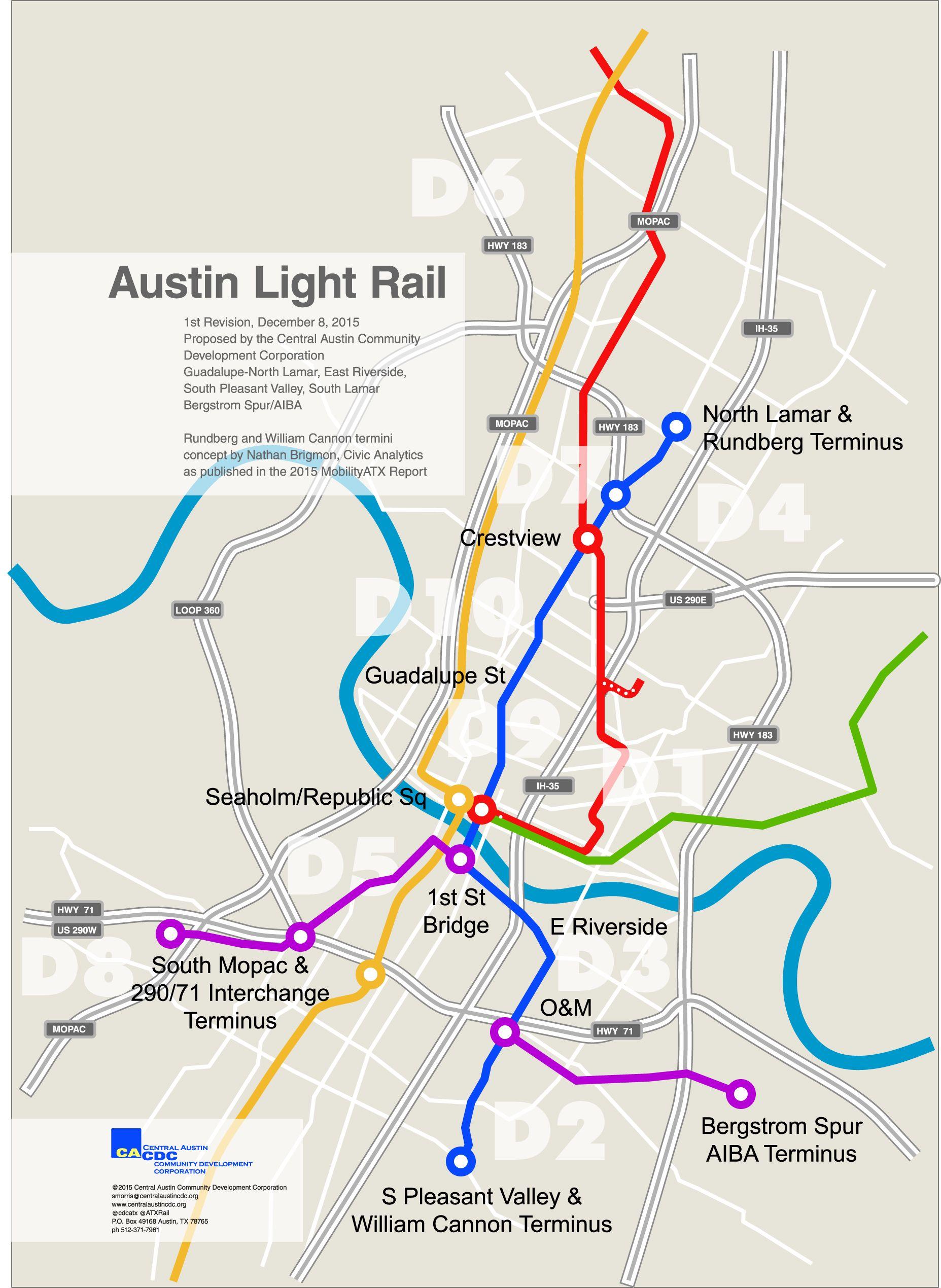 Austin Light Rail A New Proposal For 2016 Light Rail System Map Light Rail Light Rail Station System Map