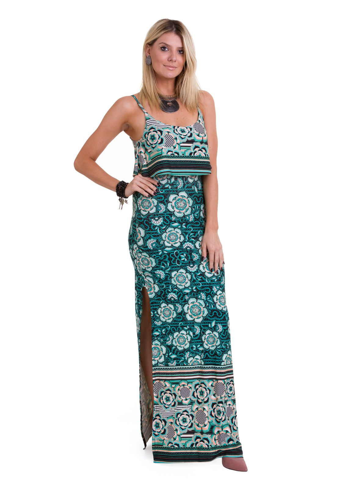 6e4f470b21 Fique linda com o vestido longo estampado com fendas laterais e alça fina  da Manola.