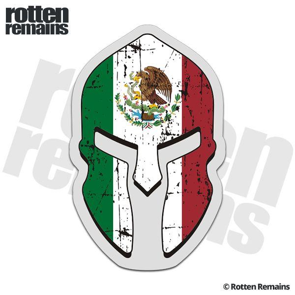 Mexico flag spartan helmet decal mexican sticker