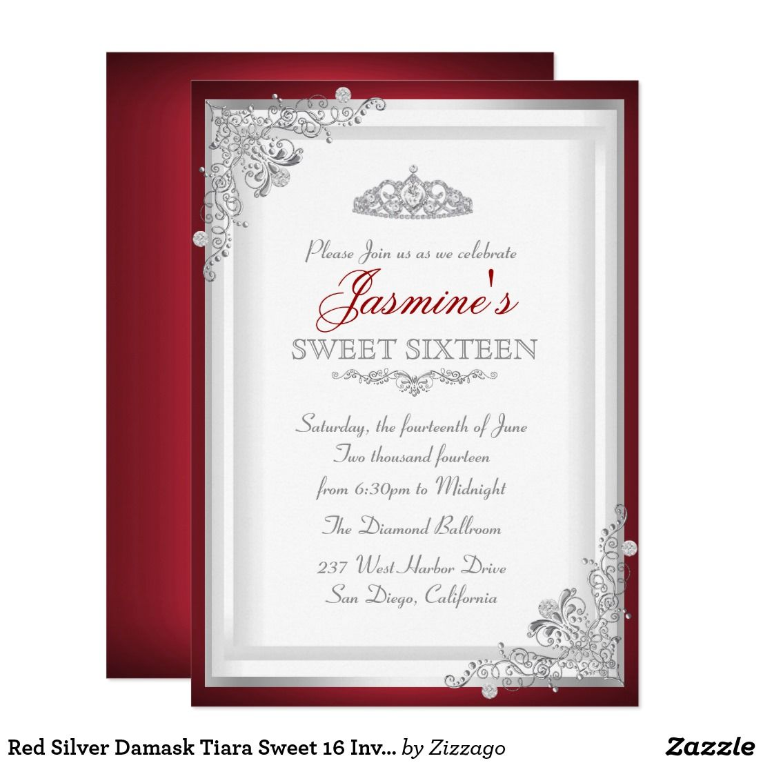 Red Silver Damask Tiara Sweet 16 Invitation | Sweet 16 invitations ...