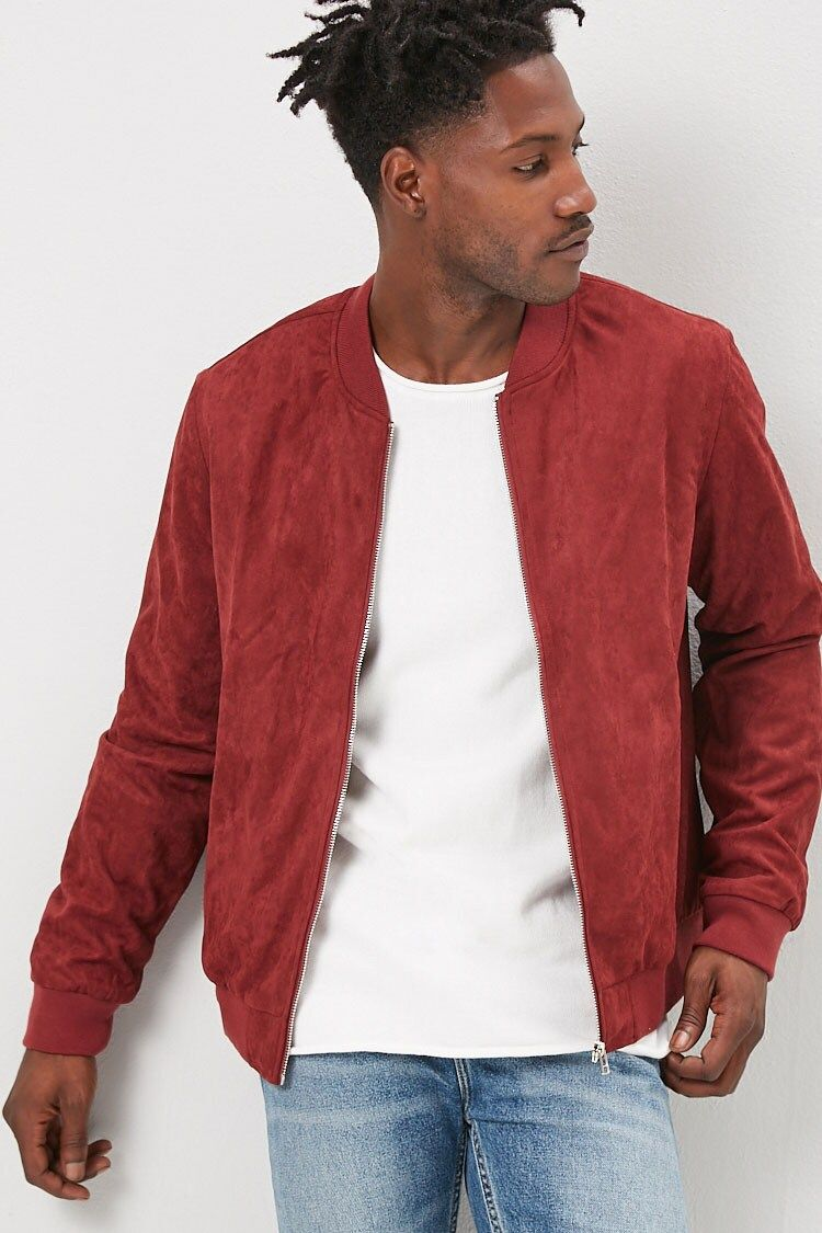 Faux Suede Bomber Jacket Forever 21 Red Bomber Jacket Men Red Bomber Jacket Outfit Suede Bomber Jacket [ 1125 x 750 Pixel ]