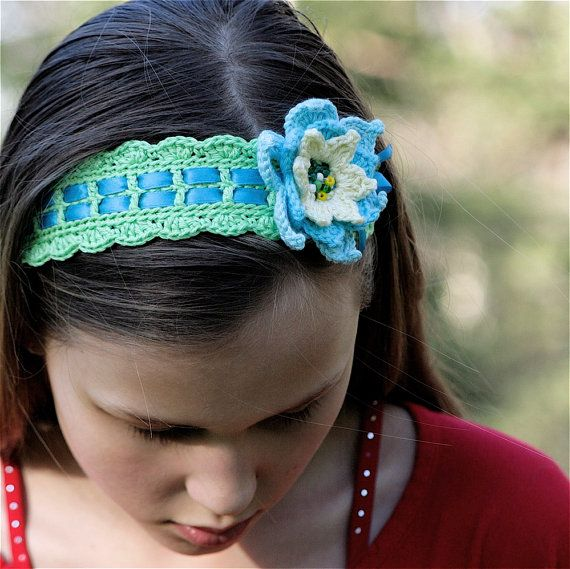 Crochet Tie on Headband with Flower - PDF PATTERN | Haarband | Pinterest