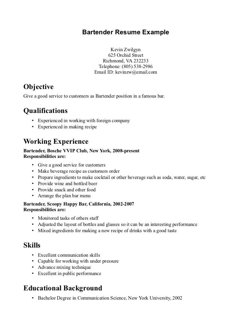 Bartender Resume Skills Resume Template For Bartender  Httpwwwresumecareer