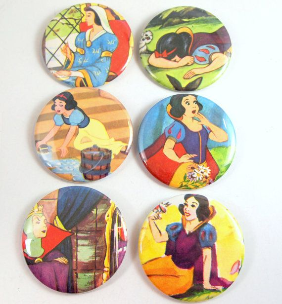 Snow White Buttons  Snow White Party Favors Snow White by jBunae