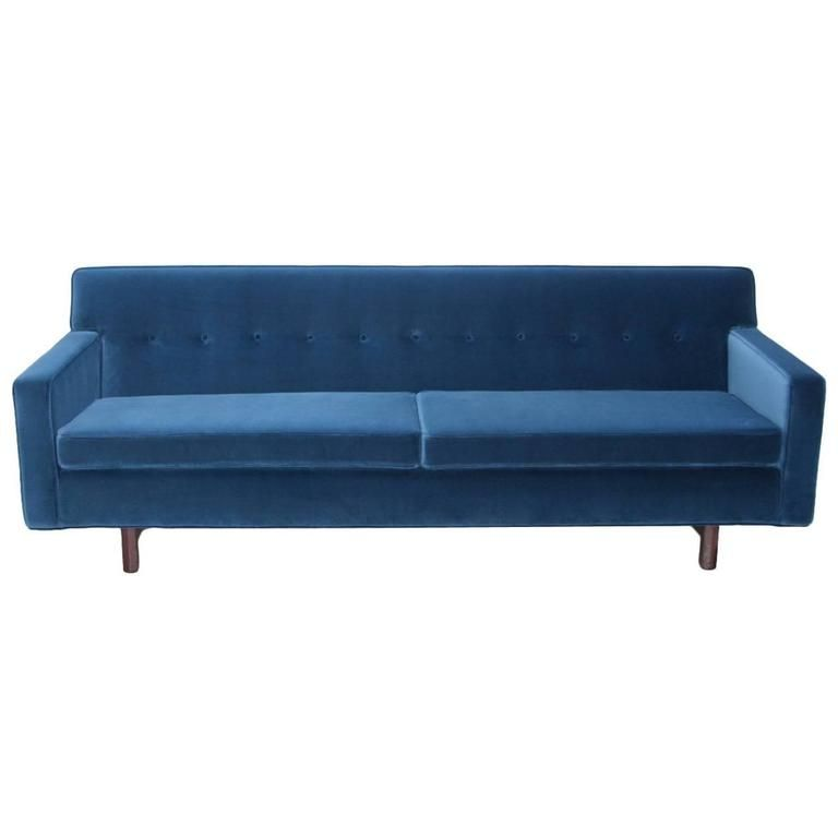 New Upholstered Edward Wormley Sofa In Indigo Dedar Fabric For Dunbar