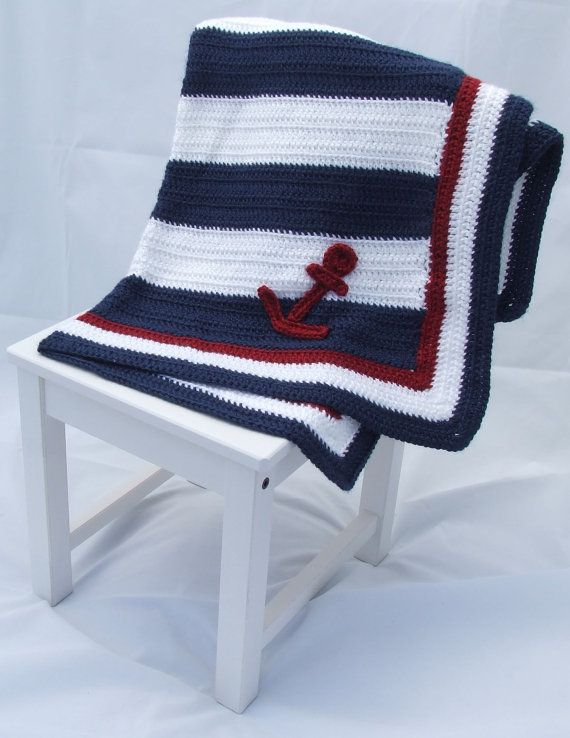 Crochet Nautical Baby Blanket; Patriotic Baby Blanket | Pinterest ...