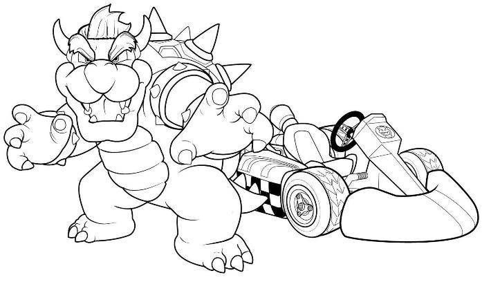 Coloring Pages Bowser Mario Kart Racing Hagio Graphic Zeichnungen Basteln