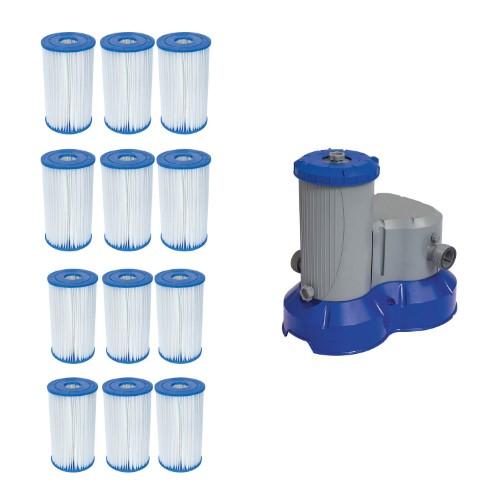 Bestway Pool Blue Filter Pump Replacement Cartridge 12 Pack Above Ground Pool Filter Pump Pool Filters In Ground Pools Bestway