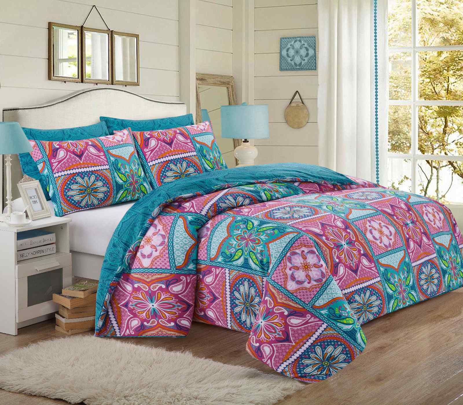Patchwork Printed Multi Duvet Quilt Cover Set Luxury