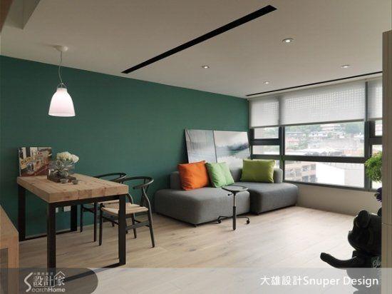 清爽森林系!夾層空間的木設計x墨綠色主牆
