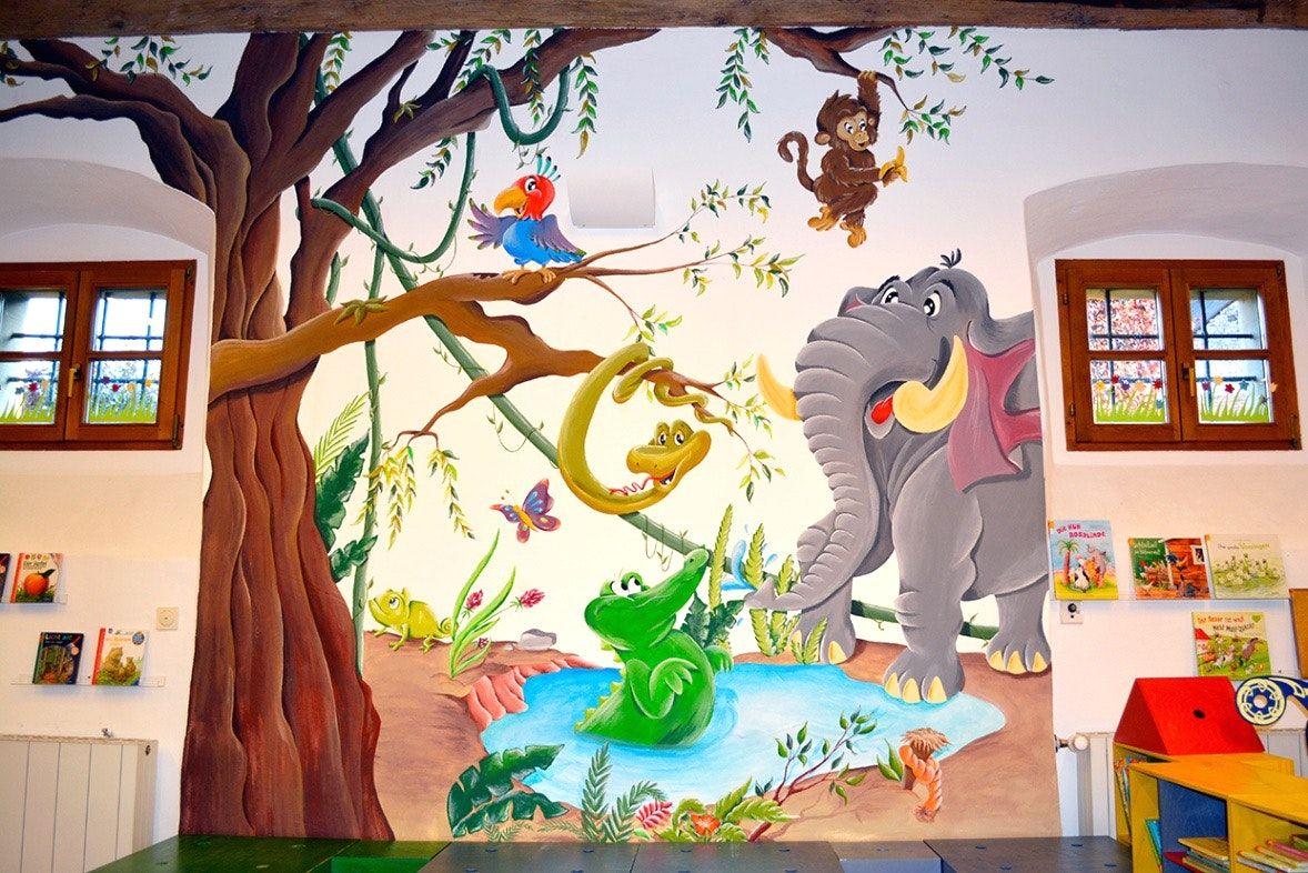 AuBergewohnlich Ideen Kleines Wandbemalung Kinderzimmer Wandbemalung