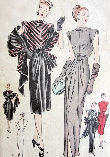 Marvellous 1940s outfit sewing pattern. V-line blouse and front ...