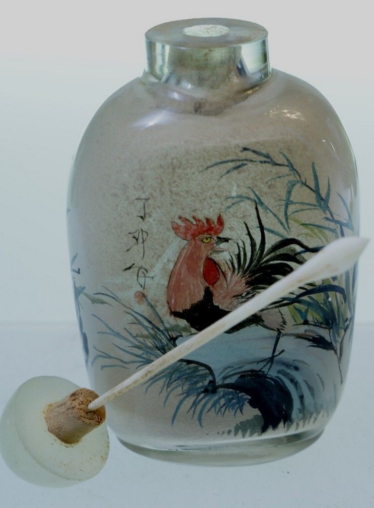 CHINESE SIGNED SNUFF BOTTLE WITH INSIDE PAINTING ROOSTER AND BIRD JADE STOPPER - Snuff Bottles