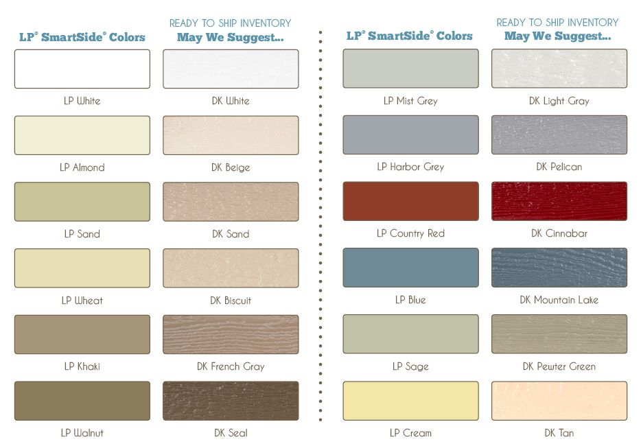Lp smartside color palette for diamond kote pre finishing diamondkote lp smartside siding for Diamond kote lp siding colors