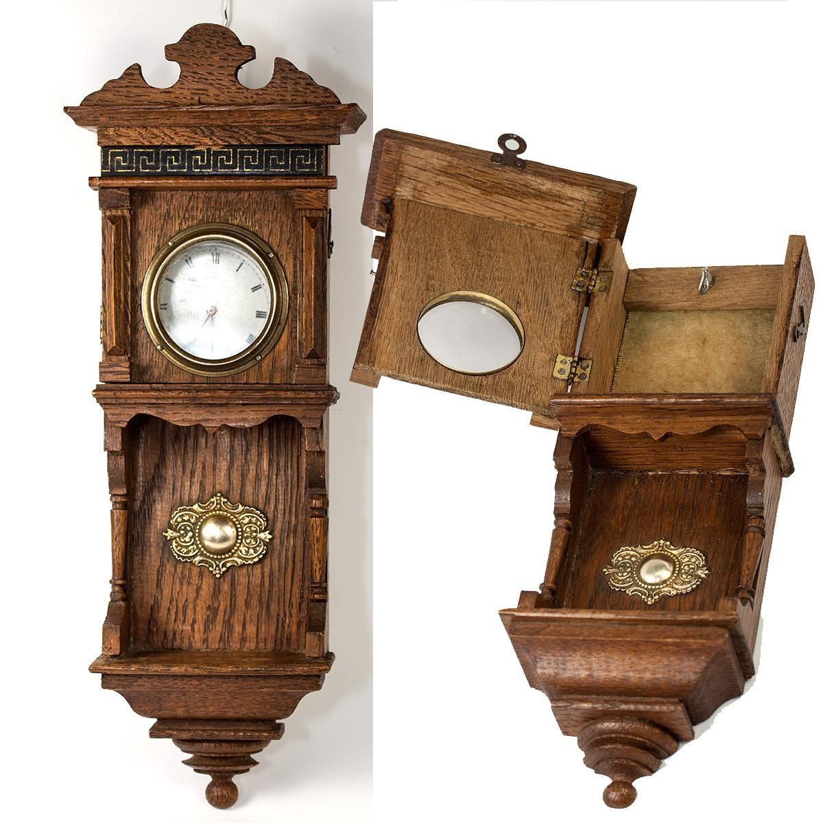 Antique French Miniature Wall Clock Casing Is A Pocket Watch Holder Stand Great For Doll House Bru Etc French Antiques Clock Wall Clock