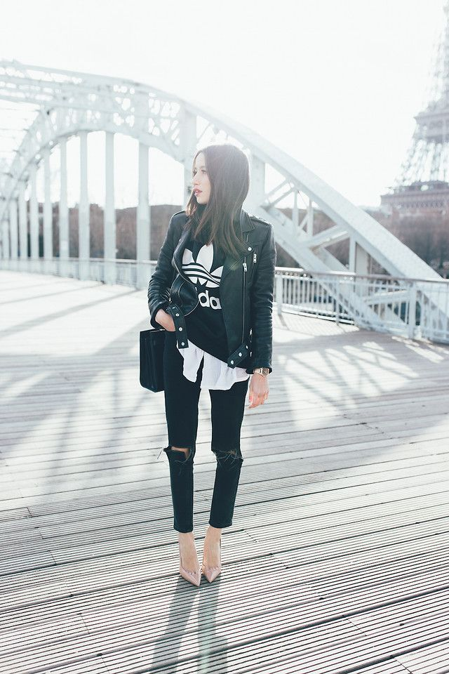 French style / black ripped jeans, adidas, nude heels, jacket