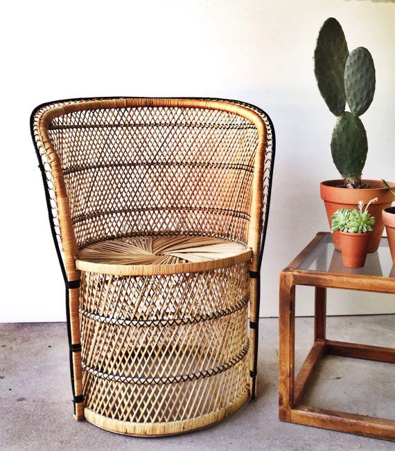 Vintage Wicker Chair Boho Seating Peacock Pedestal 70s Rattan