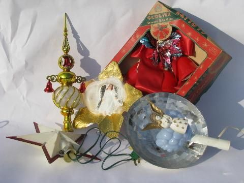 Lot Of Vintage Christmas Decorations Angel Hair Tree Toppers Bell