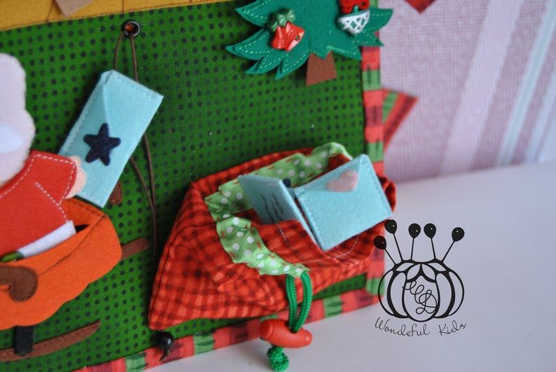 Quiet Busy Book 2 Christmas page Toddler busy book felt Santas dollhouse gingerbread house eco-friendly book Custom quiet book