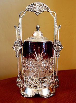 Victorian Antique Pickle Castor Ruby Tarentum Atlanta Crystal Jar Van Bergh s P | eBay