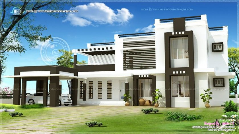 Square yard designed jidhin chalakudy kerala sq feet flat roof contemporary home design home kerala plans best free home design idea inspiration