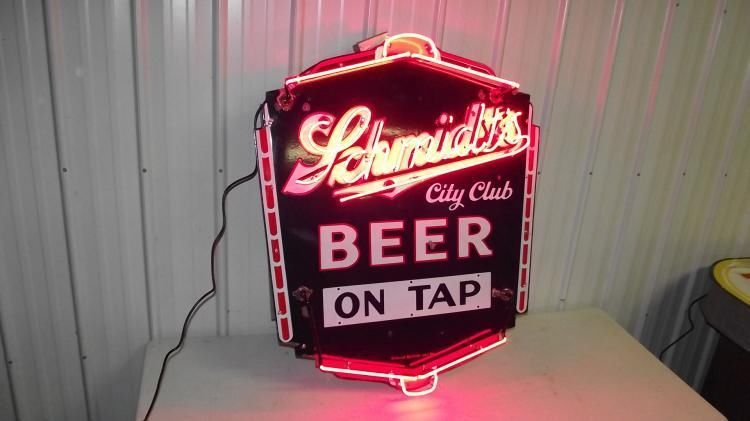 PORCELAIN SCHMIDTS CITY CLUB BEER ON TAP NEON SIGN