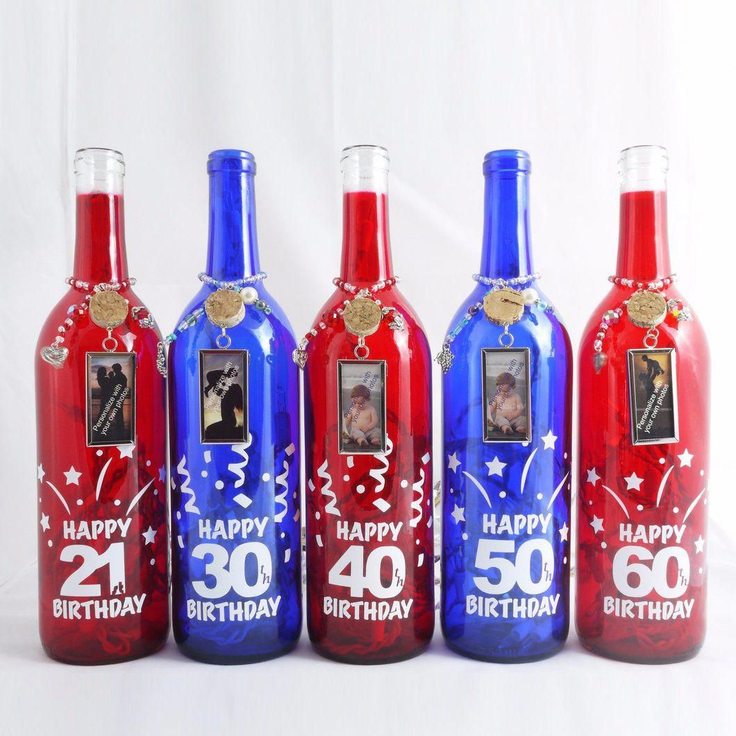 Milestone Birthday Lights Wine Bottle Lamp Birthday Wine Bottles Wine Bottle Decor