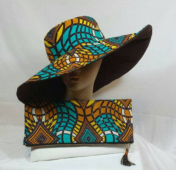 Multicolor Sun Hat African Print Ankara Wax Cotton By