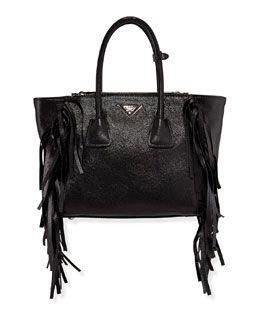 231415e339f8 V2B8D Prada Glace Calf Twin Pocket Tote Bag